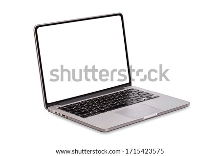 Laptop computer with blank screen isolated on white background Royalty-Free Stock Photo #1715423575