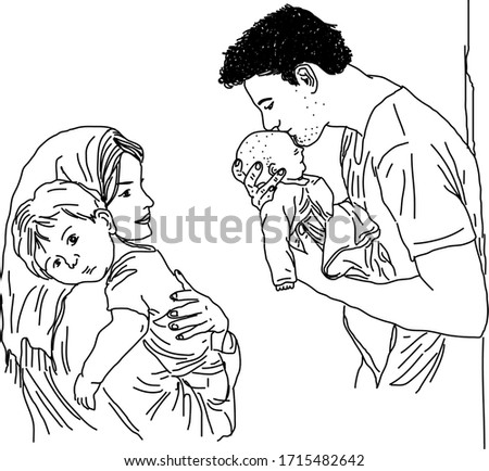 Parents and Baby Vector Illustration. Mother and Father with Baby Black and White  Artwork. Freehand Digital Art. Wall art, Background, Wallpaper, Graphic art. #1715482642