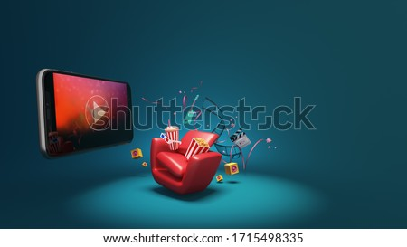 Watching movies cinema online Entertainment media on smartphone with popcorn, film strip, clapperboard, speaker and red seat. Multimedia application service. object clipping path. 3D Illustration.