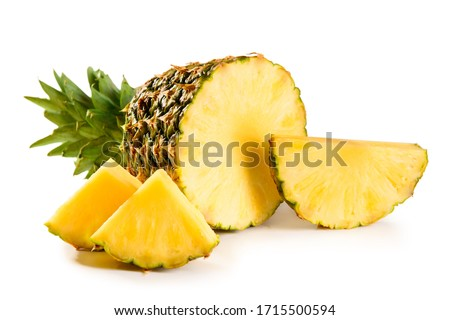 pineapple juicy yellow fruit with slices and leaf isolated on white background #1715500594