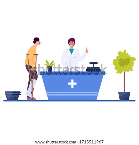 Modern pharmacy interior with visitor. Client order and buy medicaments and drugs. Pharmacist standing at the counter in the uniform. Healthcare and medical treatment concept. Vector illustration #1715511967
