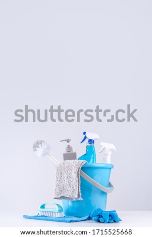 Cleaning product tool equipments, concept of housekeeping, professional clean service, housework kit supplies, copy space, close up.