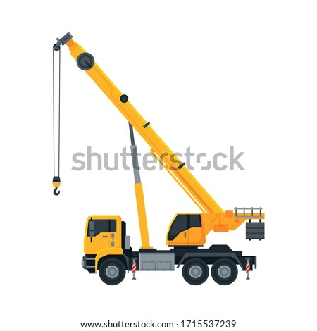 Construction Crane, Heavy Special Transport, Side View Flat Vector Illustration Royalty-Free Stock Photo #1715537239