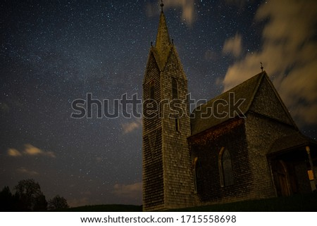 Church at night, Stars, Milkyway, Clouds #1715558698