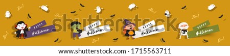 Hello Halloween, set paper cut banners with cute witch, vampire, ghost, zombie, mummy, bats. Isolated vector clip art with Halloween characters for festive design #1715563711