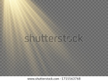 Sunlight a translucent special design of the light effect.Isolated sunlight transparent background. Vector blur in the light of radiance. #1715563768
