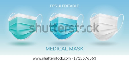 3 main color Solid Surgical masks in isolated vector #1715576563