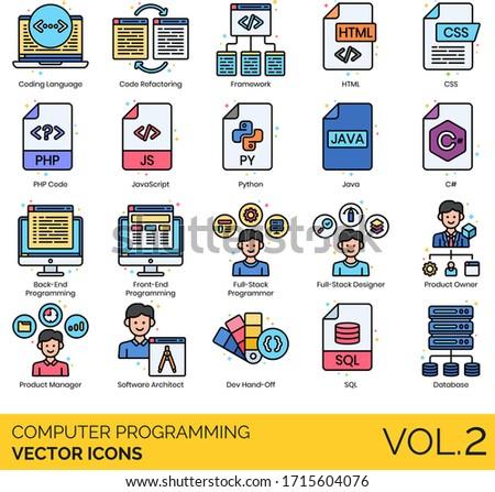 Computer programming icons including coding language, code refactoring, framework, HTML, CSS, PHP, javascript, python, java, C#, back-end, front-end, full stack programmer, designer, product owner.