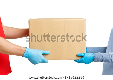 Protected contact between courier and client during quarantine, side view #1715622286