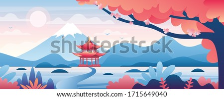 Chinese landscape vector illustration. Cartoon asian traditional temple, pavilion or house with oriental pagoda in rural China, flat mountain lake scenery and blooming tree. Travel to Asia background Royalty-Free Stock Photo #1715649040