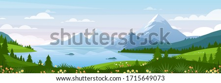 Mountain lake landscape vector illustration. Cartoon flat panorama of spring summer beautiful nature, green grasslands meadow with flowers, forest, scenic blue lake and mountains on horizon background Royalty-Free Stock Photo #1715649073