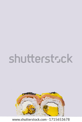sushi rolls with salmon fish and avocado fruit ingredient food photography vertical advertising picture on white background empty copy space for your text here