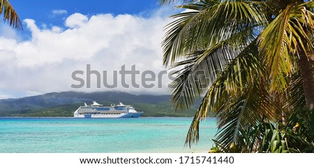 Cruise ship staying in Vanuatu. This picture was taken in 2019 during the South Pacific crossing.