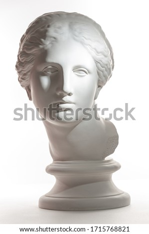 Gypsum copy of ancient statue Venus head isolated on white background. Plaster sculpture woman face.
