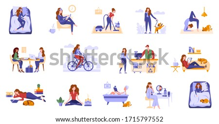 Young women spend leisure time, take care of herself. Daily routine, life scenes, everyday activities of a woman. Girls sleep, take bath, work, do sport, shopping, do hobbies, cleaning, surf internet Royalty-Free Stock Photo #1715797552