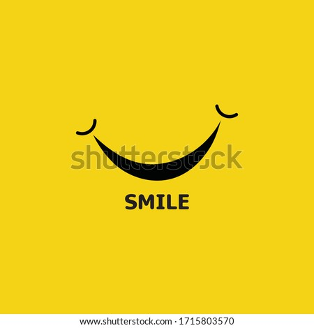 Smile logo in yellow background vector Royalty-Free Stock Photo #1715803570