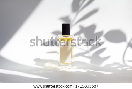 Bottle of essence perfume on white background with sunlight and shadows of leaves. Minimal style perfumery template #1715803687