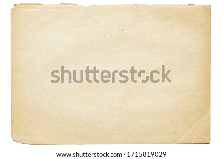 Isolated old brown worn out ripped yellow background paper texture with stain  #1715819029