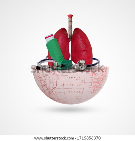 Asthma Day, World Asthma Day,Asthma inhaler, Lung, stethoscope, on half earth, Respiratory disease solidarity day symbol, Banner, Royalty-Free Stock Photo #1715856370