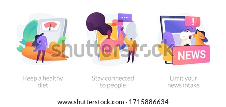 Self-qarantine wellbeing abstract concept vector illustration set. Keep a healthy diet, stay connected to people, limit your news intake, home cooking, social media connections abstract metaphor. #1715886634
