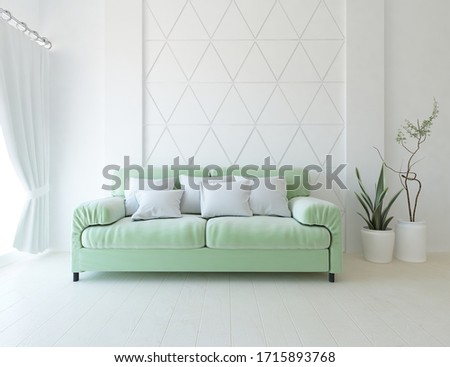 White minimalist living room interior with sofa, vases on a wooden floor, decor on a large wall, white landscape in window with curtains. Home nordic interior. 3D illustration #1715893768