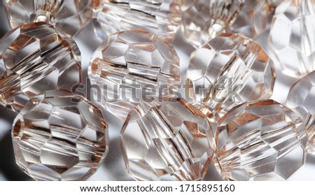 accessories, small transparent crystals close up picture