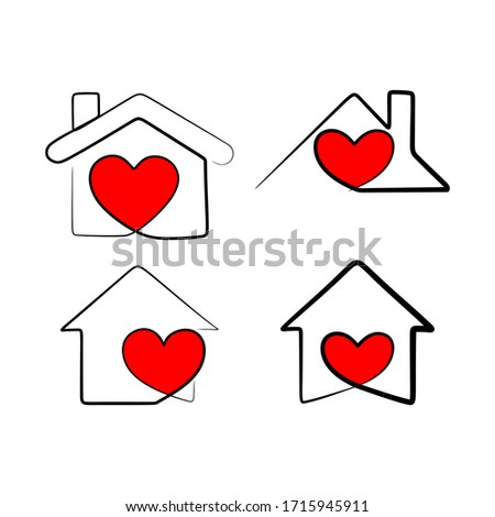 Continuous line drawing heart with home shape designed as a logo or icon. this icons prepared for corona virus. Remarkable icons shows messages ''stay home'' or ''stay safe'' #1715945911