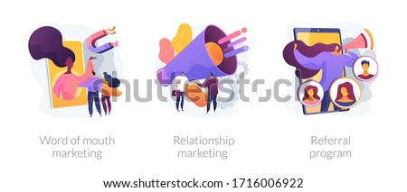 Customer oriented marketing strategy abstract concept vector illustration set. Word of mouth, relationship marketing, referral program, recommendation, brand loyalty, social media abstract metaphor. #1716006922
