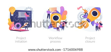 Project implementation abstract concept vector illustration set. Project initiation and closure, workflow process, business analysis, vision and scope, management software, deadline abstract metaphor. Royalty-Free Stock Photo #1716006988