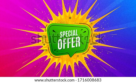 Special offer badge. Flare light flash banner. Discount banner shape. Sale coupon bubble icon. Gradient shape background. Promotional flyer design. Special offer promotion. Vector #1716008683
