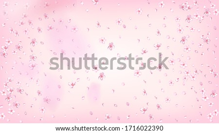 Nice Sakura Blossom Isolated Vector. Watercolor Blowing 3d Petals Wedding Design. Japanese Blurred Flowers Wallpaper. Valentine, Mother's Day Beautiful Nice Sakura Blossom Isolated on Rose #1716022390