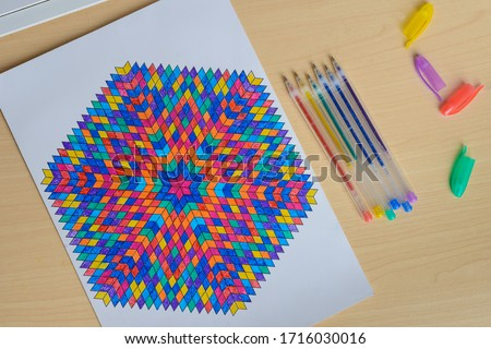 Mandala Coloring Therapy. Mandala creative drawing. Relaxation and stress relief, filling the picture with energy. Master class. Art Therapy. Mandala Of Light. The process of drawing a mandala.