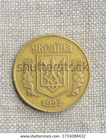 Hi resolution close up macro shot of a vintage gold coin on a fabric background 1993 shield