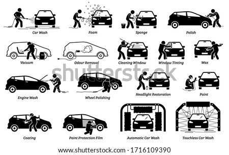 Professional auto car detailer icons set. Vector illustrations of auto car detailing services of car wash, polishing, cleaning, waxing, repainting, ceramic coating, and paint protection film.  #1716109390