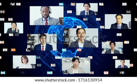 Global communication network concept. Video conference. Telemeeting. Flash news. #1716130954