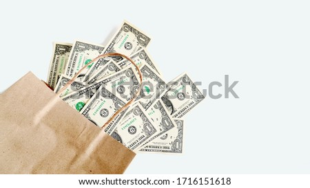 US dollar money in paper bag on light  color background.