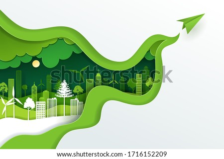 Paper art and digital craft style of landscape with green eco urban city, Earth day and world environment day concept, eps 10 vector. Royalty-Free Stock Photo #1716152209