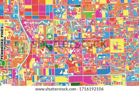 Colorful vector map of Pembroke Pines, Florida, USA. Art Map template for selfprinting wall art in landscape format. #1716192106