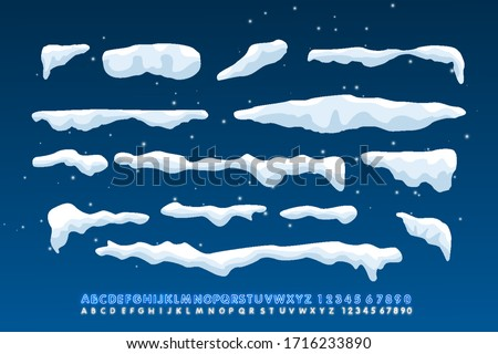 Snow caps, falling snow and snow drift elements. Winter design elements for banners, leaflets, postcards . Vector illustration with neon alphabet style. #1716233890