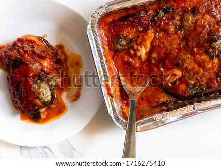 Directly above shot of Parmigiana di melanzane #1716275410