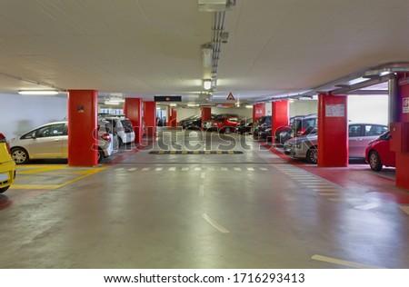 Interior of a modern multi-level garage #1716293413