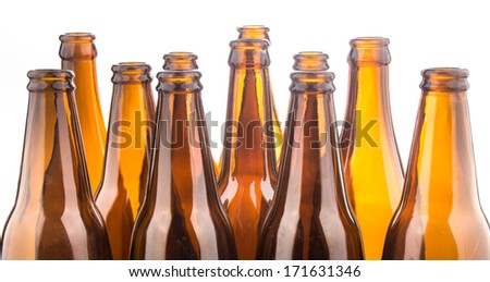 Brown beer bottles stacked isolated on white background  #171631346