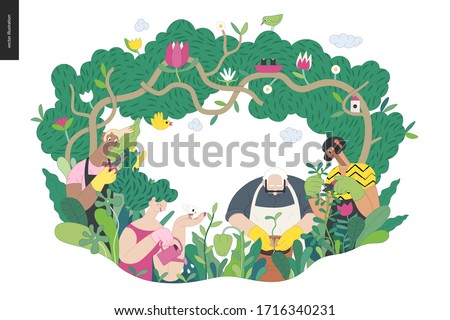 Gardening people, spring - modern flat vector concept illustration of people in the garden wearing aprons and gloves, gardening, watering, planting, cutting branches. Spring gardening concept #1716340231