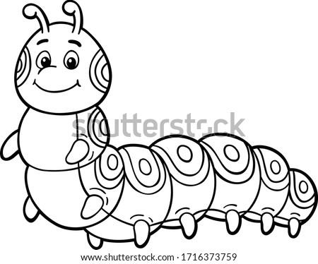 Vector Cartoon Cute Caterpillar Smiling Line Art