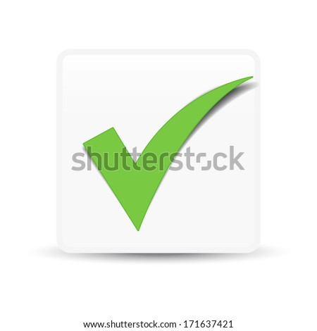 Green check mark symbol and icon for approved design concept and web graphic on white background.