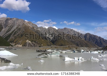 Icebergs in the Blue Lakes and Tasman Glacier View Track in Aoraki / Mount Cook National Park, South Island, New Zealand #1716388348