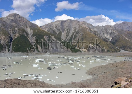 Icebergs in the Blue Lakes and Tasman Glacier View Track in Aoraki / Mount Cook National Park, South Island, New Zealand #1716388351