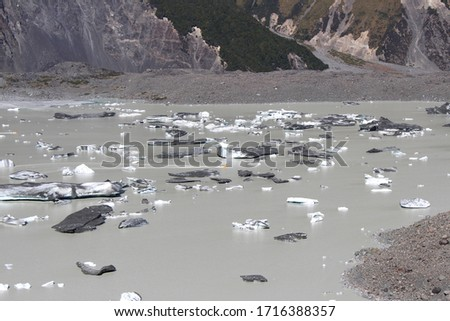 Icebergs in the Blue Lakes and Tasman Glacier View Track in Aoraki / Mount Cook National Park, South Island, New Zealand #1716388357