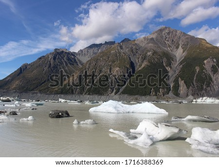 Icebergs in the Blue Lakes and Tasman Glacier View Track in Aoraki / Mount Cook National Park, South Island, New Zealand #1716388369