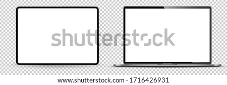 Modern computer monitor mockup isolated on transparent background front view. Vector illustration. #1716426931